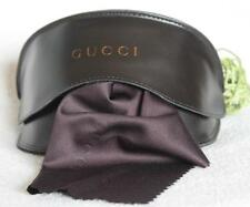 NeW~GUCCI~Black~Brown Leather CASE~Gold~Cloth~RARE Eyeglass SUNGLASS holder