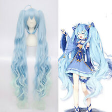 VOCALOID 2017 Snow Miku Hatsune Star Princess Long Blue Curly Wavy Cosplay Wig