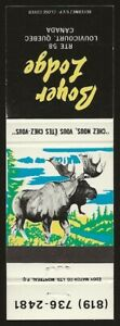Canada Moose | Boyer Lodge, Louvicourt Quebec Matchbook cover