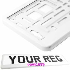 PRINCESS WHITE Car Number Plate Surround Holder FOR ANY CAR VAN PINK TXT