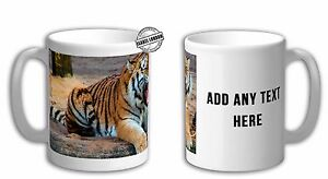 Personalised Big cat mug Tiger Mug cup. Customise with your own text.FOC. IL6317