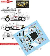 DÉCALS 1/43 réf 430 Alpine Renault A.110 2ème Tour de Corse 1975 Nicolas - Laver
