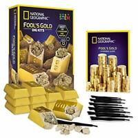 NATIONAL GEOGRAPHIC Fool's Gold Dig Kit – 12 Gold Bar Bricks Learning Guide