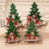 Wooden Christmas Elk Xmas Tree Assembled Ornaments Home Table DIY Crafts Decor
