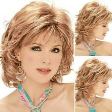 Womens Gold Blonde Ladies Short Curly Daily Natural Hair Wig Cosplay Full Wigs