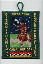 OA Patch O-Shot-Caw Lodge 265 Summer Ordeal 2002 Camp Lone Oak w loop 701138