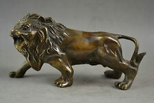China Old Decorated Handwork Copper Carved A Fierce Lion Roar Elegant Statue
