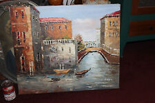 Stunning Venice Italy Oil Painting On Canvas-Signed-Water Boats Buildings-LQQK