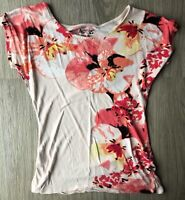 APT. 9 Size XS WOMENS Pink White Floral TOP/SHIRT Short Sleeve Beading