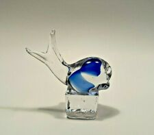 Art Glass Whale on a Cube Paperweight