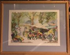"Jean Pierre Llado Watercolor Lithograph ""Le Jardin de Sophie"" Signed Framed32x35"