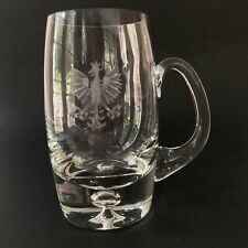 Crystal Beer Mug Stein Etched Gryphon Dragon Trapped Bubble Griffon Clear Glass