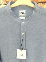 ZARA Mens Textured Oxford Blue Shirt Mandarin Grandad Collar Slim Fit XXL - BNWT