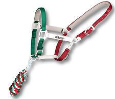 Cavezza per cavalli in nylon colore tricolore Italia con lunghina abbinata
