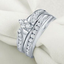 Cz Engagement Wedding Ring Set Sz 7 Newshe 0.5ct 925 Sterling Silver Round White