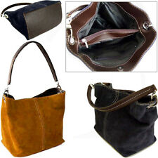 Tan Italian Real Suede Leather Shoulder Handbags Ladies Totes Weekend Bags Small