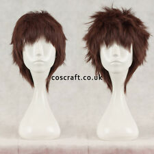 Short layered fluffy spikeable cosplay wig in rich dark brown, UK seller, Jack