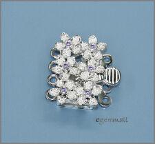 Sterling Silver 4 Strand Flower Box Clasp w/ CZ Amethyst #51540