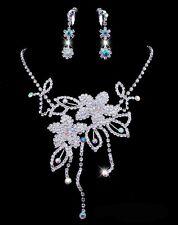 Set fiori strass collana collier Orecchini a clip sposa MATRIMONIO NUOVO
