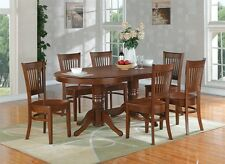 9-PC SET OVAL DINETTE DINING ROOM TABLE w/ 8 PLAIN WOOD SEAT CHAIRS IN ESPRESSO