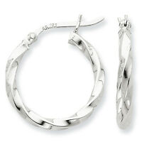 925 Sterling Silver Rhodium Plated Twisted 3.5mm x 20mm Polished Hoop Earrings