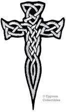 IRISH HERITAGE BIKER PATCH CELTIC DAGGER CROSS iron-on embroidered KNIFE WHITE