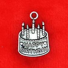 6 x tibetan silver gâteau d'anniversaire Parti Charme Pendentif fabrication de bijoux