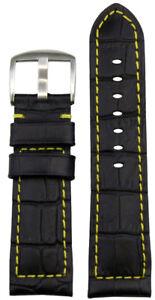 26mm XL Panatime Black Leather Watch Strap w/ Gator Print - Yellow Stitch & Back