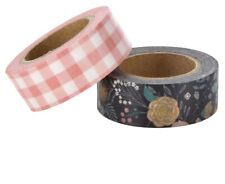 2 Rolls Floral Pink Check  Washi Tape Decorative Planner Papercraft Bujo Wedding