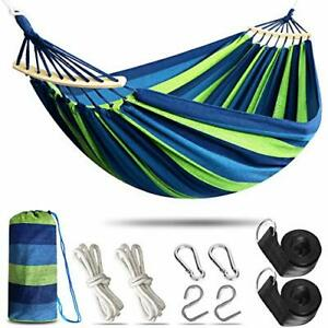 Anyoo Outdoor Cotton Hammock with Tree Straps, Comfortable Fabric Hammock with