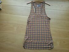 Long sleeveless TRF Collection, rayon t-shirt, orange & brown pattern size...
