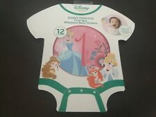 New Disney Baby Princess First Year Milestone Belly Round Stickers Girls 0-12