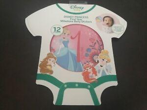 Disney Baby Princess First Year Milestone Belly Round Stickers Girls 0-12