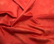 "Hand Dyed BLOOD ORANGE - Silk/Cotton SATIN Fabric 18""x22"" remnant"
