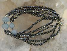 Sterling Silver Blue Quartz &  Marcasite 6 Strand Beaded Bracelet 7.25 Inches