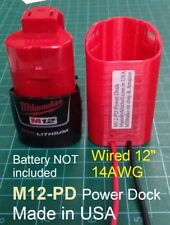 Milwaukee M12 Power Dock, 12v Battery Mount wired 14AWG, lights tools #M12-PD-14