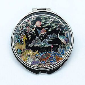 """Cosmetic Compact mirror mounted with mother of pearl Big size 3"""""""