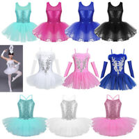 Ballerina Girl Dance Dress Kid Ballet Sequins Leotard Tutu Skirt Dancing Costume