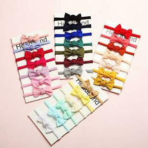 Girls Toddler Bow Hair band Headband Stretch Knot Bow Grosgrain Ribbon 7Pcs Set