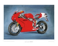 "Motorcycle Art Print Limited Edition 20""x16"" by Steve Dunn - Ducati 999R red"
