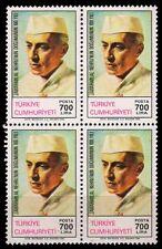 TURKEY 1989-J.L. Nehru-block of 4-MNH