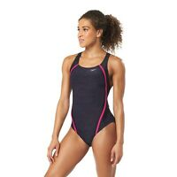 Speedo Fuchsia Heather Quantum Splice One-Piece Swimsuit Women's Size 10 5114