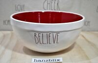 Rae Dunn Bowl BELIEVE Red Inside Large Mixing Bowl Christmas Holiday NEW HTF '18