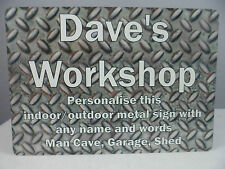 Personalised Sign Workshop Garage Plaque Shed Man Cave Metal Fathers Day Dad