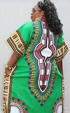 Dashiki African Poncho Tribal Long Shirt Maxi Kaftan 100% Cotton Bright Colors