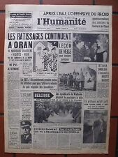 ▬►L'HUMANITÉ 13 JANVIER 1961 BRIGITTE BARDOT_TATIANA SAMOILOVA_ACTUALTÉS ORAN
