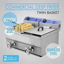 New 8000W Electric Countertop Deep Fryer Dual Tank Commercial Restaurant Steel