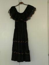 True Vintage Hippie Boho Goa Kleid 60-iger Jahre Party Strand schwarz  Lurex