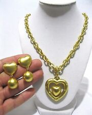 Vtg Givenchy Gold Tone Chain Heart Medallion Necklace Rhinestone And Earrings