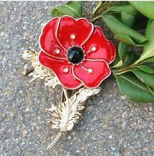 Gold Tone Red Enamal Poppy & Leaf Rhinestone Diamante Crystals brooch pin